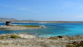 Spiaggia di Pelosa in Sardegna, Italia Fotografie Stock Libere da Diritti