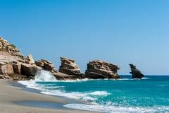 Spiaggia di PETRA del trio su Crete Fotografia Stock