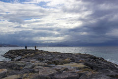 Spiaggia di pietra in Almunecar Immagine Stock Libera da Diritti
