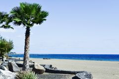 Spiaggia di Playa de Matagorda a Lanzarote, Spagna Fotografia Stock
