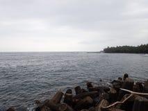 Spiaggia di Pohoiki sulla grande isola Hawai Fotografie Stock
