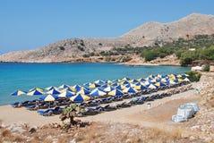 Spiaggia di Pondamos, Halki Immagini Stock