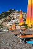 Spiaggia di Positano, Italia Immagini Stock Libere da Diritti