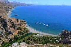 Spiaggia di Preveli, Creta, Grecia Immagini Stock