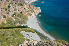 Spiaggia di Preveli da sopra, Crete fotografie stock libere da diritti