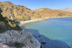 Spiaggia di Preveli e mare libico. Creta. La Grecia immagini stock