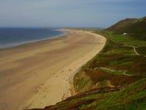 Spiaggia di Rhossilli nella regione di Gower di Galles del sud Fotografie Stock Libere da Diritti