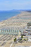 Spiaggia di Rimini con ombrelloni stock photo