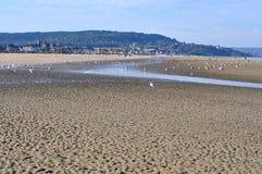 Spiaggia di sabbia a Deauville Fotografia Stock Libera da Diritti