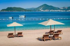 Spiaggia di sabbia del lusso del Montenegro Fotografia Stock