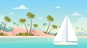 Spiaggia di sabbia della riva di mare della vela dell'yacht di vacanze estive illustrazione vettoriale