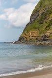 Spiaggia di sabbia e scogliera in Agua de Pau, Azzorre portugal Fotografia Stock
