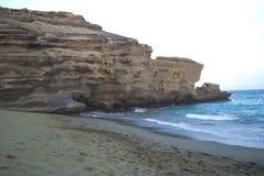 Spiaggia di sabbia Hawai di verde di Papakolea Fotografia Stock Libera da Diritti