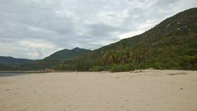 Spiaggia di sabbia lunga con le palme al piede della collina Azure Sea video d archivio