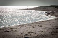 Spiaggia di sabbia lunga sull'isola di faro in svezia Immagine Stock