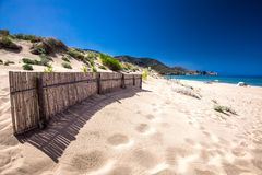 Spiaggia di San Nicolo and Spiaggia di Portixeddu beach in San Nicolo town, Costa Verde, Sardinia, Italy. Sardinia is an island in the Mediterranean Sea stock photo