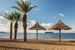 Spiaggia di Sandy di Eilat Fotografie Stock Libere da Diritti