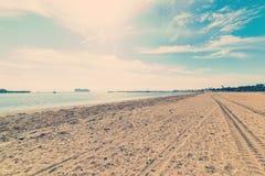 Spiaggia di Santa Barbara nel tono d'annata immagine stock