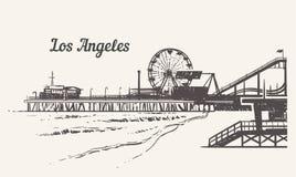 Spiaggia di Santa Monica con uno schizzo del parco di divertimenti Illustrazione d'annata disegnata a mano di vettore di Los Ange fotografia stock libera da diritti