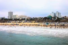 Spiaggia di Santa Monica, Los Angeles Immagine Stock