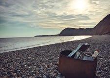 Spiaggia di Sidmouth al tramonto fotografia stock libera da diritti
