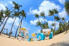 Spiaggia di Siloso nell'isola di Sentosa, SINGAPORE - marzo  Immagine Stock