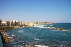 Spiaggia di Siracusa in Sicilia Immagini Stock