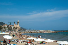 Spiaggia 1 di Sitges Fotografia Stock Libera da Diritti