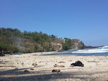 Spiaggia di Siung di Yogyakarta fotografie stock libere da diritti