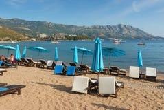 Spiaggia di Slovenska nella città di Budua, Montenegro Immagini Stock