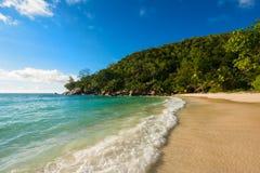 Spiaggia di sogno sulle Seychelles Fotografia Stock