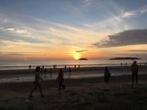 Spiaggia di Tanjung Aru Fotografie Stock