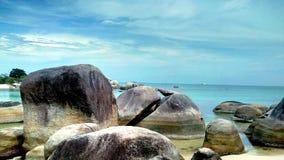 Spiaggia di Tanjung Tinggi - isola del Belitung Fotografia Stock Libera da Diritti