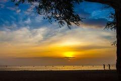 Spiaggia di tramonto ed albero e la gente Fotografia Stock Libera da Diritti