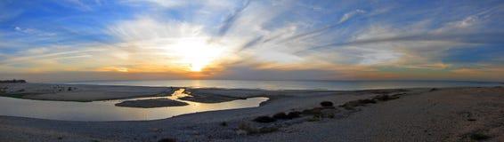 Spiaggia di tramonto, Israele Fotografie Stock