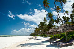 Spiaggia di Trobical a Zanzibar Fotografie Stock Libere da Diritti