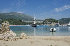 Spiaggia di Valtos - Parga marino ionico, Prevesa, Epiro, Grecia fotografia stock