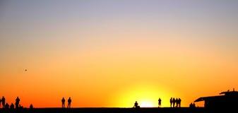 Spiaggia di Venezia di tramonto Fotografie Stock Libere da Diritti