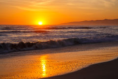 Spiaggia di Venezia di tramonto Fotografia Stock Libera da Diritti