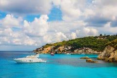Spiaggia di Voutoumi, isola di Antipaxos, Grecia Fotografia Stock Libera da Diritti