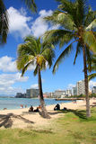 Spiaggia di Waikiki Immagini Stock Libere da Diritti