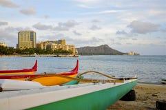 Spiaggia di Waikiki e Diamond Head, Honolulu Fotografia Stock