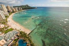 Spiaggia di Waikiki in Hawai Fotografia Stock