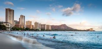 Spiaggia di Waikiki - Hawai Fotografia Stock
