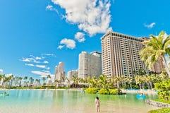 Spiaggia di Waikiki a Honolulu, Hawai Immagini Stock Libere da Diritti