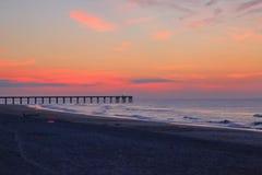 Spiaggia di Wrightsville prima di alba Fotografia Stock