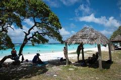 Spiaggia di Yejele: Riparo ricoperto di paglia del tetto Immagine Stock