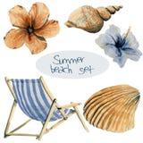 Spiaggia disegnata a mano dell'acquerello messa: sedia, fiori e coperture Vaca immagine stock