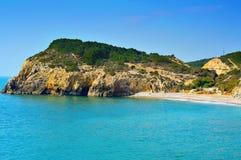 Spiaggia domestica di Mort in Sitges, Spagna Fotografia Stock Libera da Diritti