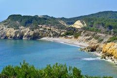 Spiaggia domestica in Sitges, Spagna di Mort fotografia stock libera da diritti